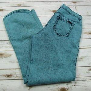 DG2 Teal Acid Wash High Rise Boot Cut Jeans 12